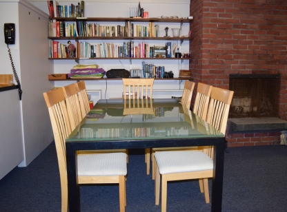Cape Cod Vacation House Open Dining Room Glass Table